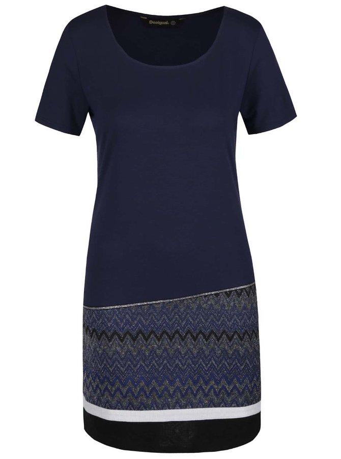 Tmavě modré šaty s krátkými rukávy Desigual Meryan
