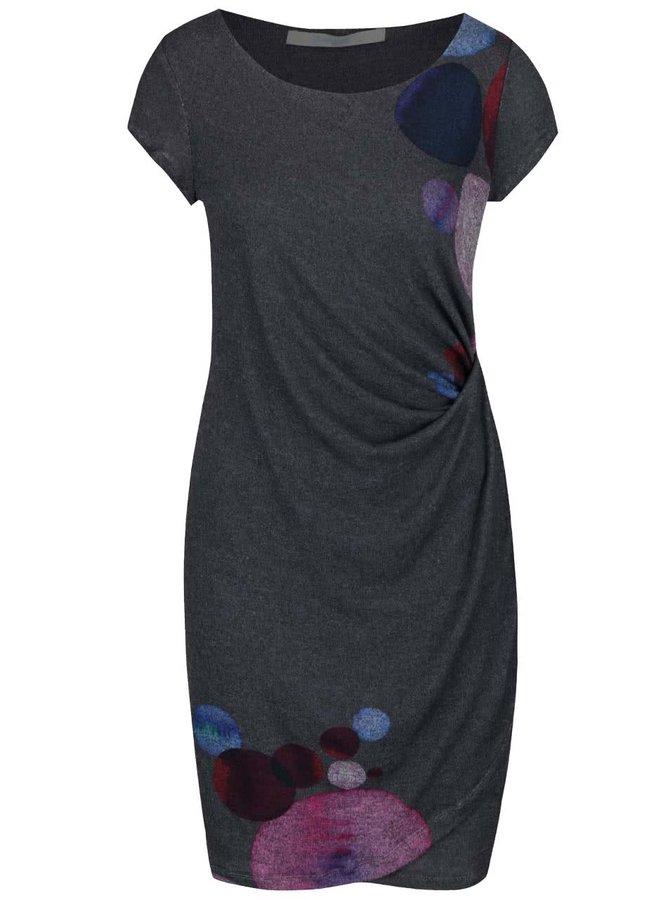 Šedé šaty s fialovými a modrými vzory Desigual Entam