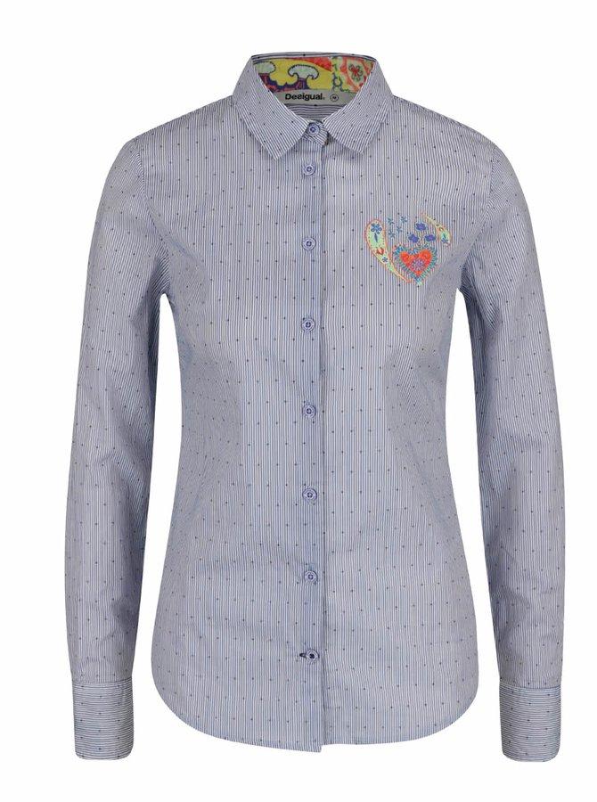 Světle modrá pruhovaná košile s puntíky Desigual Mona