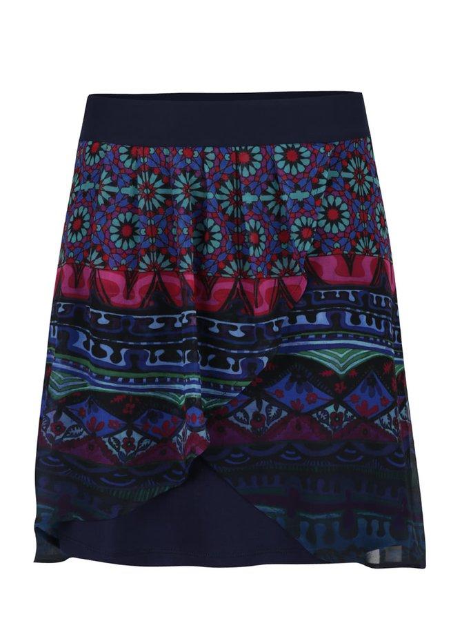 Tmavě modrá krátká překládaná sukně s barevnými vzory Desigual Erika