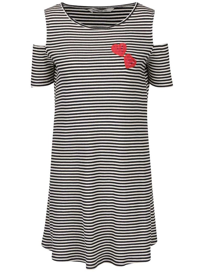 Krémovo-černé volné pruhované šaty s průstřihy na ramenou Desigual Leile