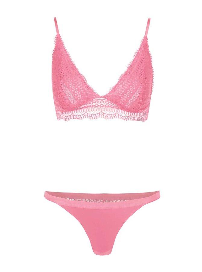 Set chiloți și sutien Y.A.S roz din dantelă