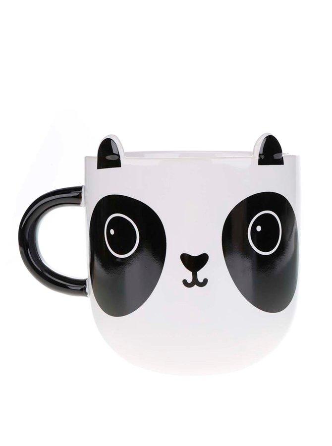 Cană Sass & Belle alb cu negru din ceramică cu model panda