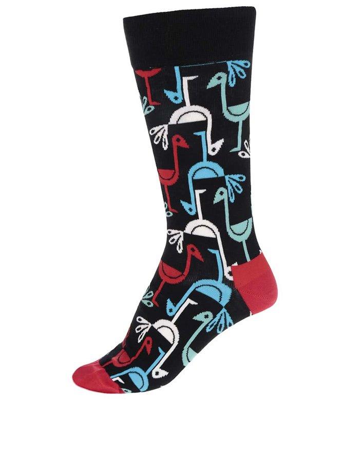 Černé vzorované pánské ponožky s ptáčky Happy Socks Iris Apfel Birds