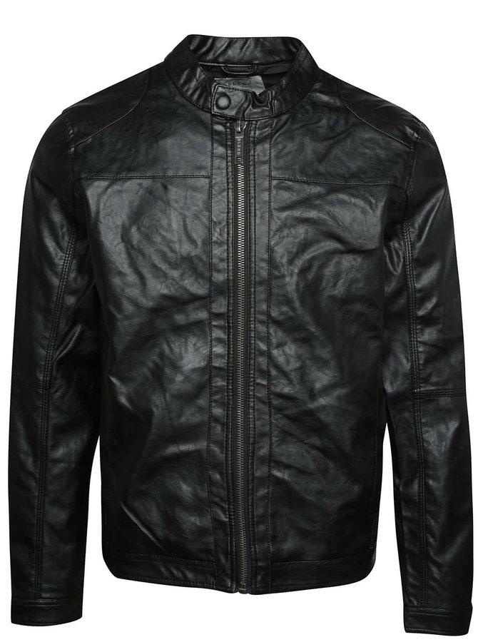 Jachetă neagră Blend din piele ecologică