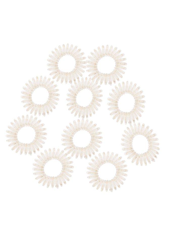 Set elastice de păr Pieces Spiral albe