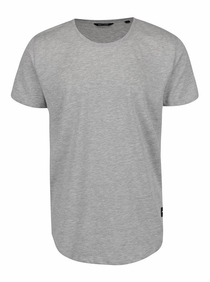 Světle šedé žíhané basic triko ONLY & SONS Matt