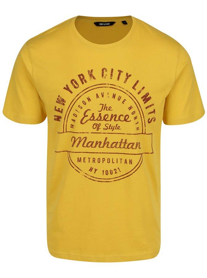 Žluté triko s potiskem ONLY & SONS Johnny