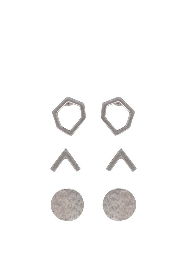 Sada tří párů náušnic ve stříbrné barvě Pieces Molla