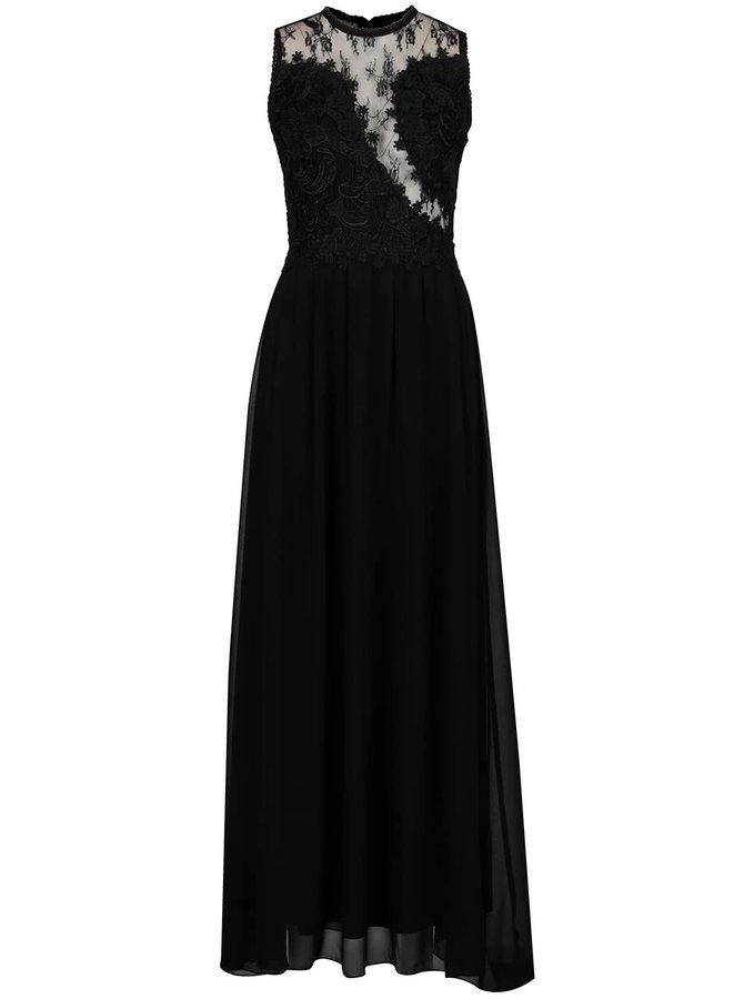 Rochie neagră lungă AX Paris cu detalii din dantelă