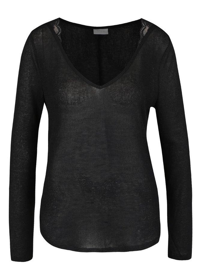 Černý volný průsvitný svetr s krajkovými detaily VILA Majsa