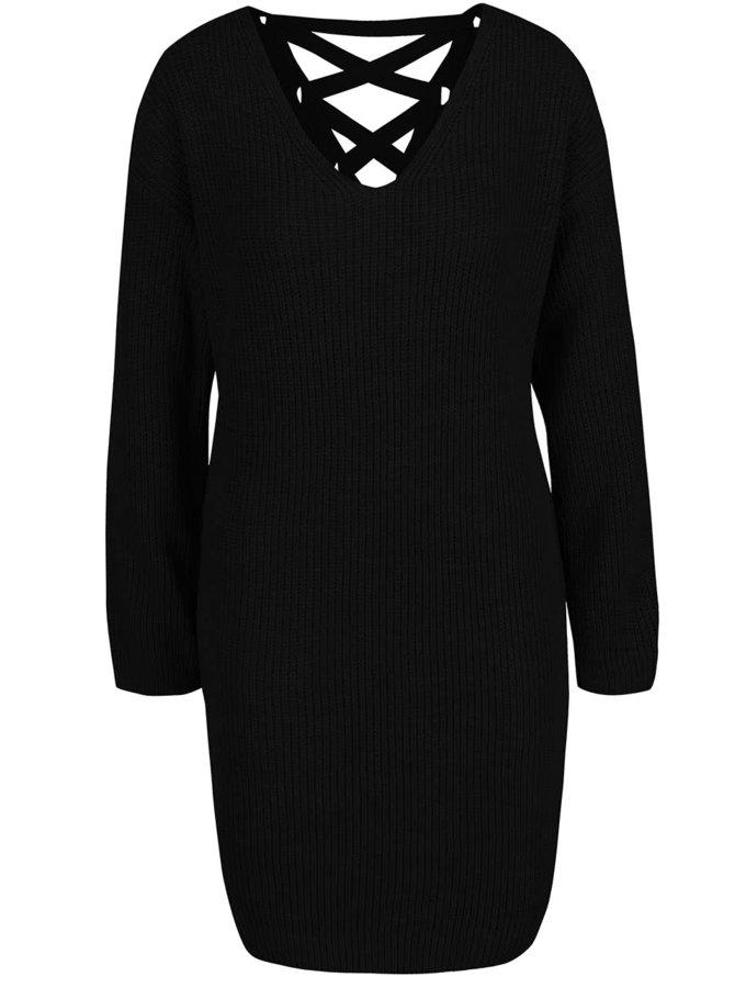 Černé svetrové šaty se šněrováním na zádech Miss Selfridge