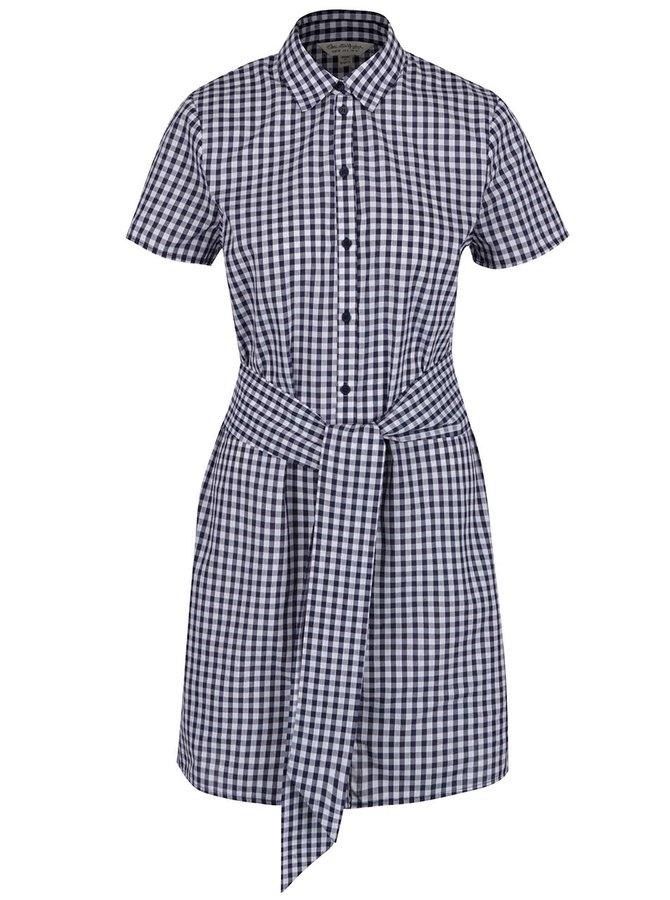Bílo-modré kostkované košilové šaty se zavazováním v pase Miss Selfridge