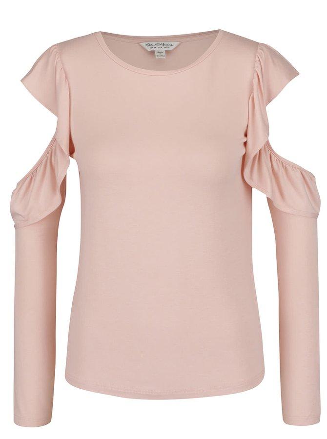 Meruňkové tričko sprůstřihy na ramenou a volány Miss Selfridge