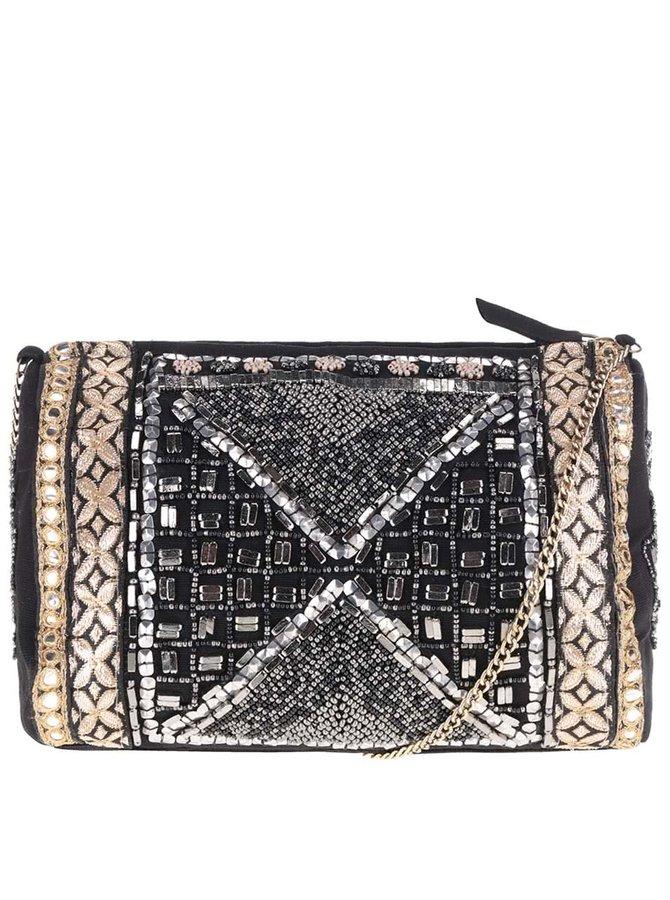 Černá crossbody kabelka s korálky ve zlaté a stříbrné barvě Miss Selfridge