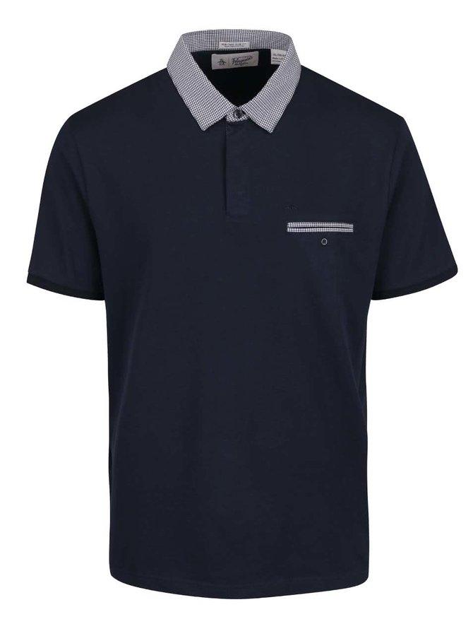 Tmavě modré slim fit polo triko s kostkovaným límečkem Original Penguin Gingham