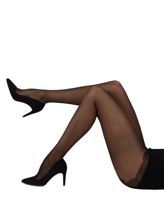Černé lesklé punčochové kalhoty Gipsy Soft shine 10 DEN