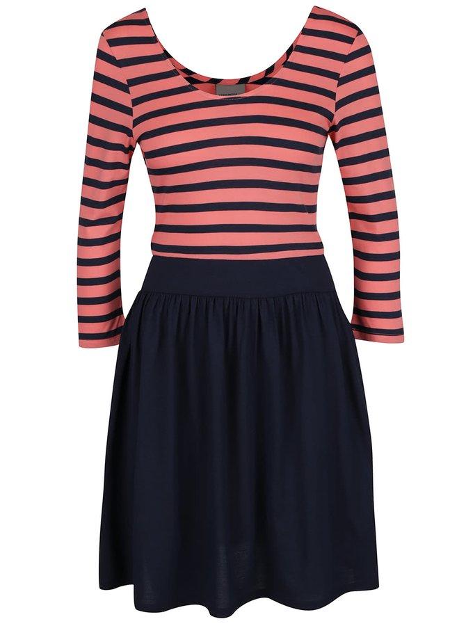 Růžovo-modré šaty s 3/4 rukávy a pruhovaným topem VERO MODA Maggie