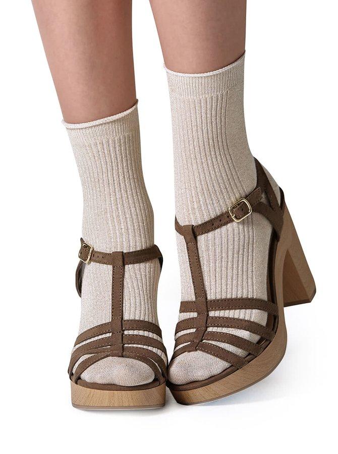Béžové třpytivé ponožky Gipsy