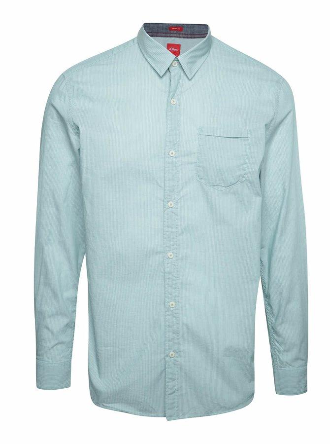 Světle zelená pánská košile s jemným vzorem s.Oliver