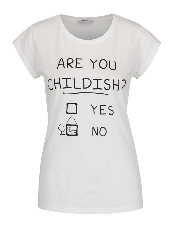Krémové tričko s potiskem Childish ONLY Zarlo