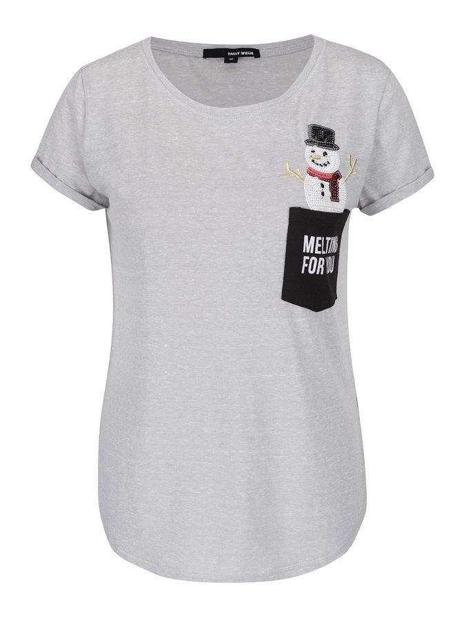 Světle šedé žíhané tričko s kapsou a vánočním motivem TALLY WEiJL