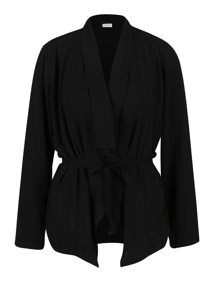 Blazer negru Jacqueline de Yong Shimmer cu cordon în talie