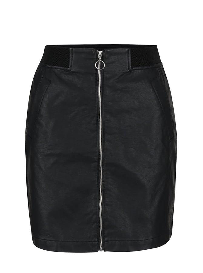 Černá koženková sukně se zipem Jacqueline de Yong Alma