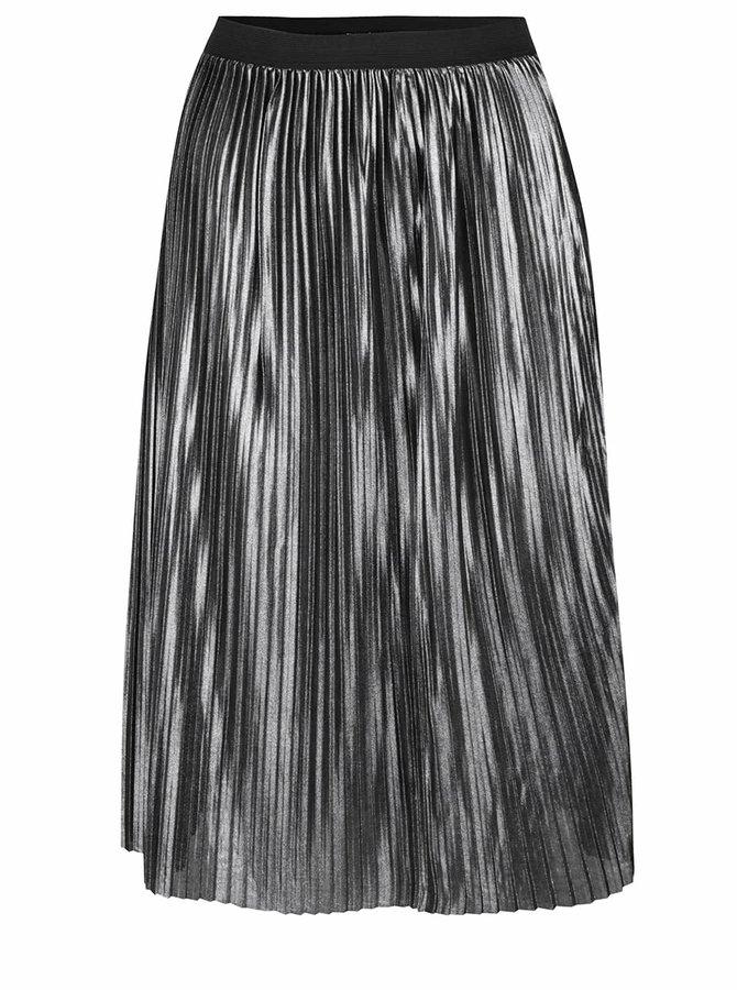 Metalická plisovaná midi sukně ve stříbrné barvě Jacqueline de Yong Meta
