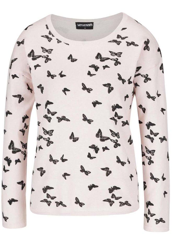 Pulover roz pal Haily´s Nellie cu imprimeu fluturi