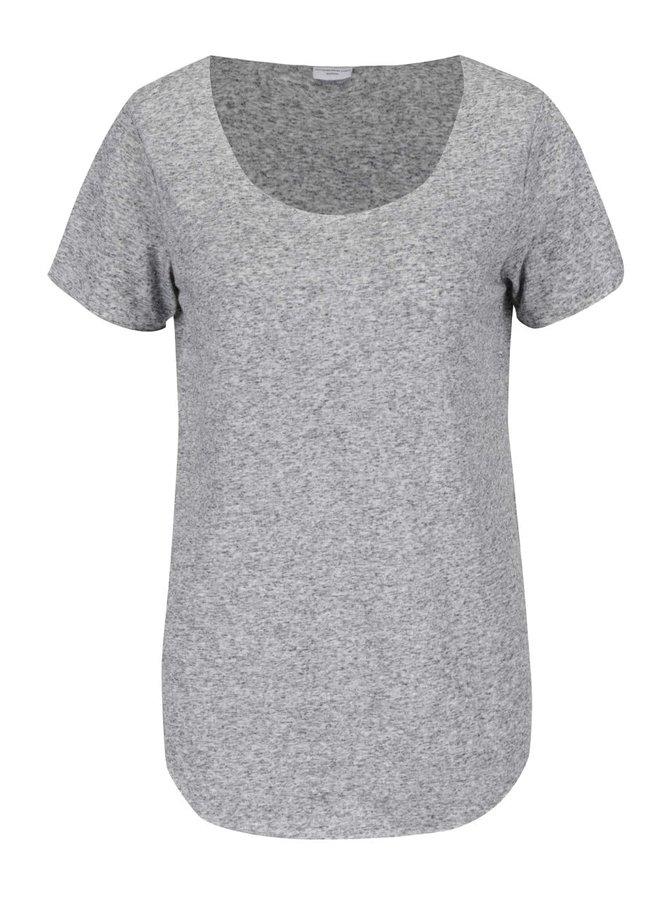 Světle šedé žíhané tričko s příměsí lnu Jacqueline de Yong Linette