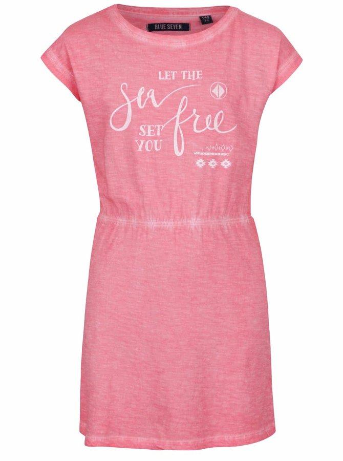 Růžové holčičí žíhané šaty s potiskem Blue Seven