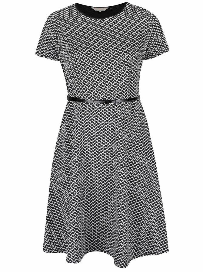 Černo-bílé vzorované šaty s jemným páskem Dorothy Perkins Curve