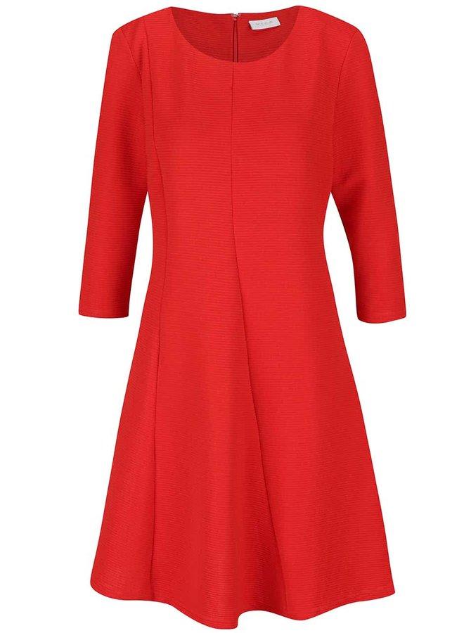 Červené žebrované šaty s 3/4 rukávy VILA Makka