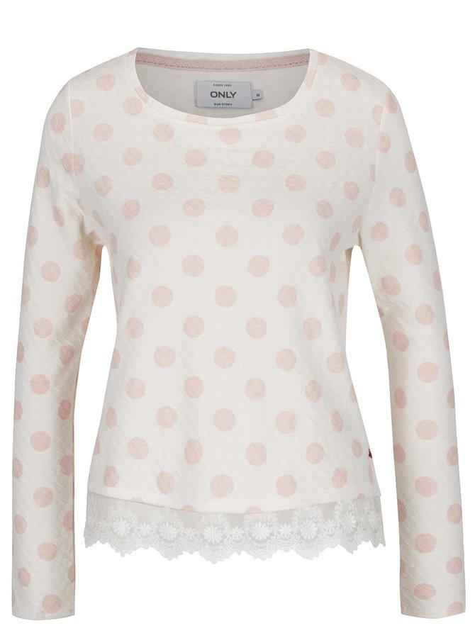 Krémové tričko s růžovými puntíky ONLY Cammi
