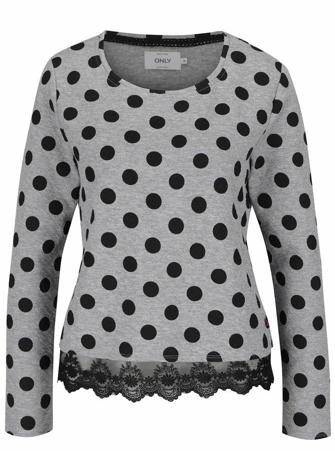 Bluză gri ONLY Cammi cu buline negre