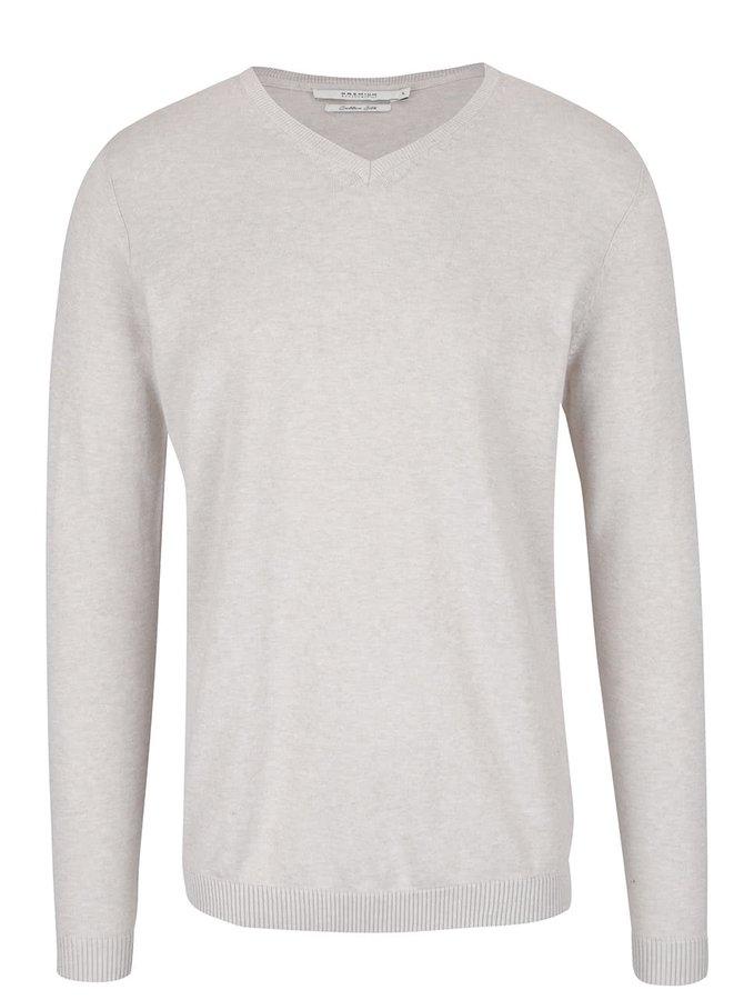 Béžový svetr s véčkovým výstřihem Jack & Jones Lucas