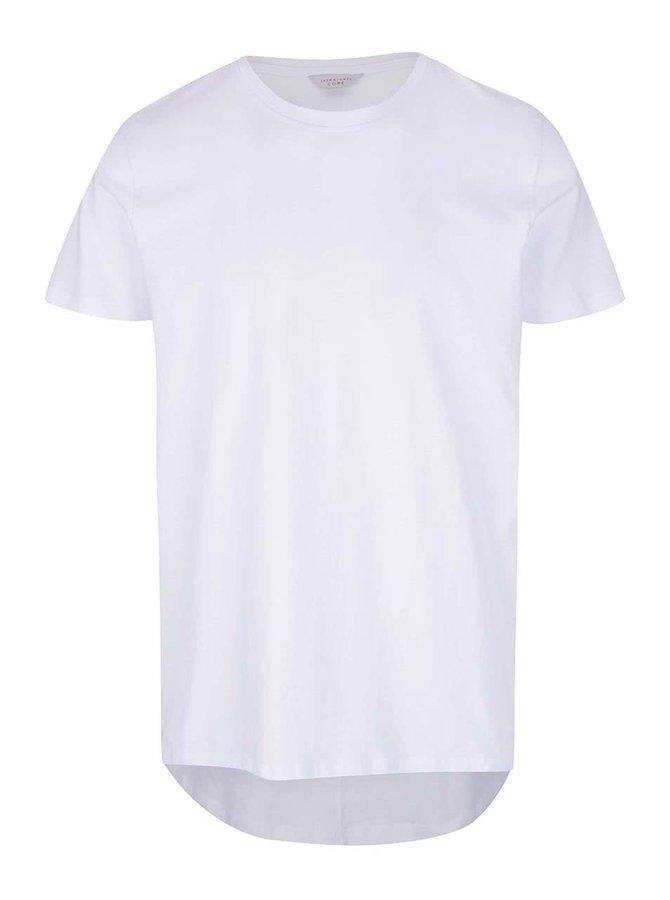 Bílé triko s prodlouženým zadním dílem Jack & Jones Pacific Plica