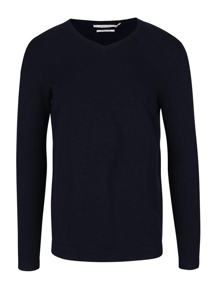 Tmavě modrý svetr s véčkovým výstřihem Jack & Jones Lucas