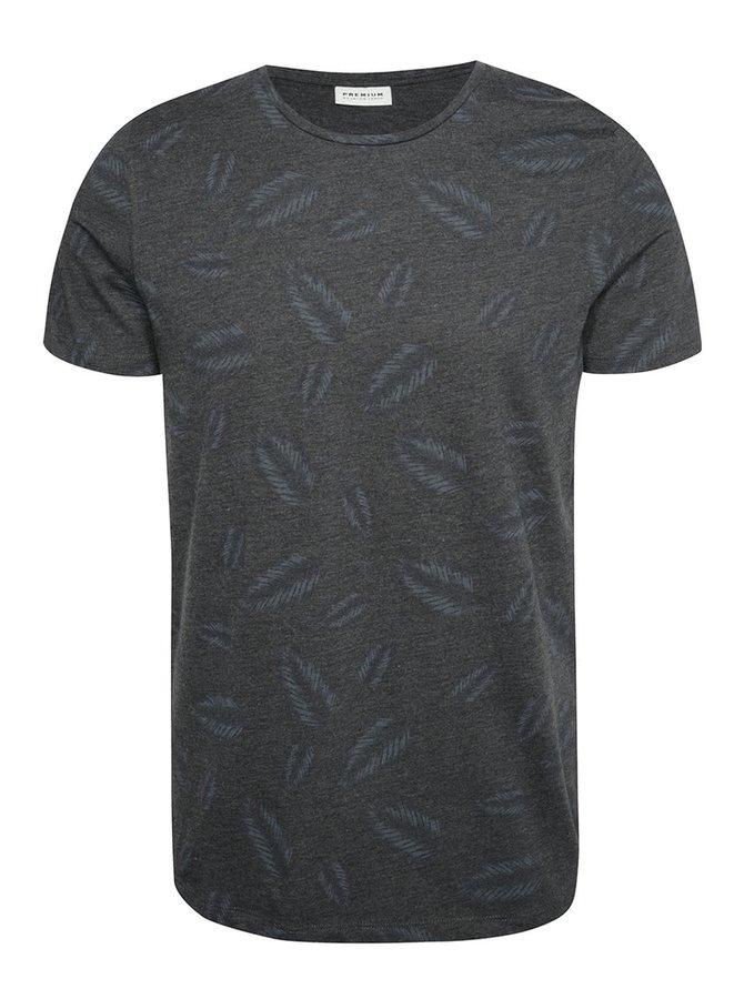 Tmavě šedě triko s potiskem listů Jack & Jones Leaf