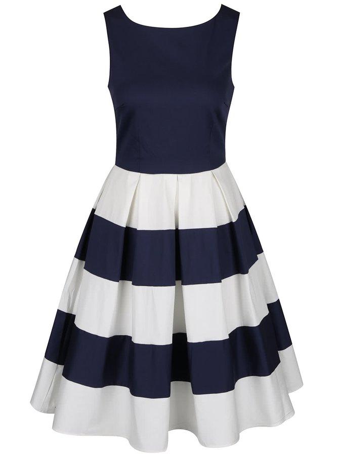 Bílo-modré šaty s pruhovanou sukní Dolly & Dotty Anna