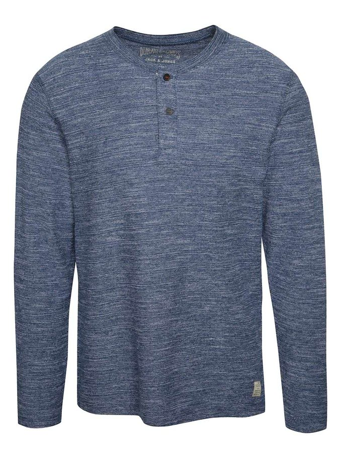 Světle modré žíhané triko s knoflíky a dlouhým rukávem Jack & Jones Sebastian