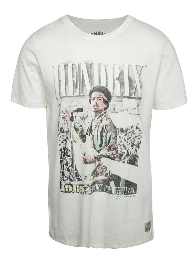 Krémové triko s potiskem Jack & Jones Jimi Hendrix