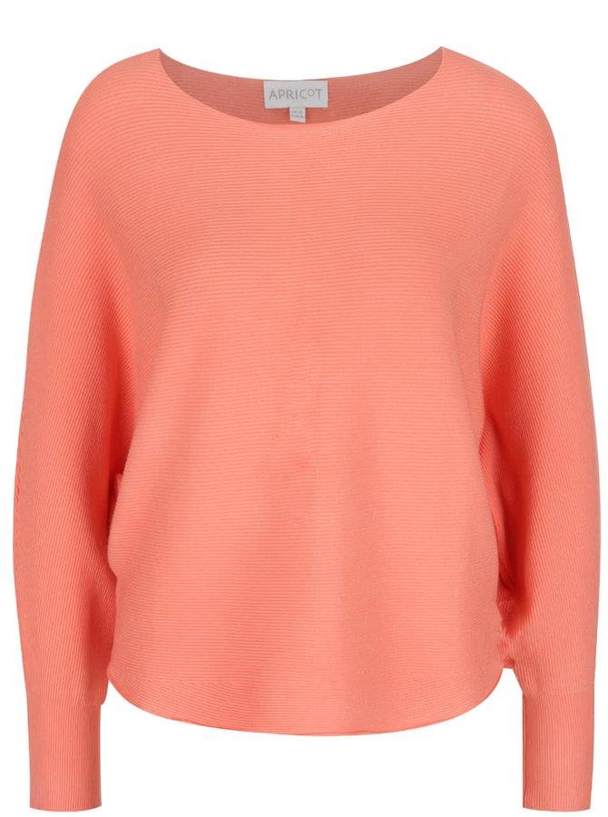Korálový svetr s netopýřími rukávy Apricot