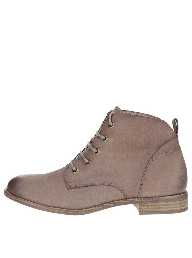 Hnědé kožené kotníkové boty na šněrování Tamaris