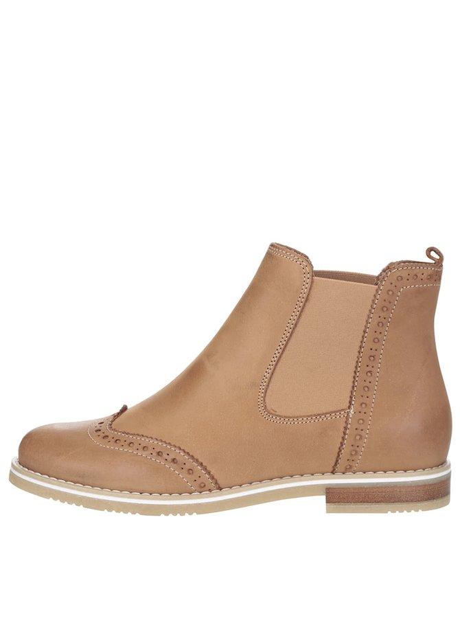 Světle hnědé kožené chelsea boty s brogue detaily Tamaris