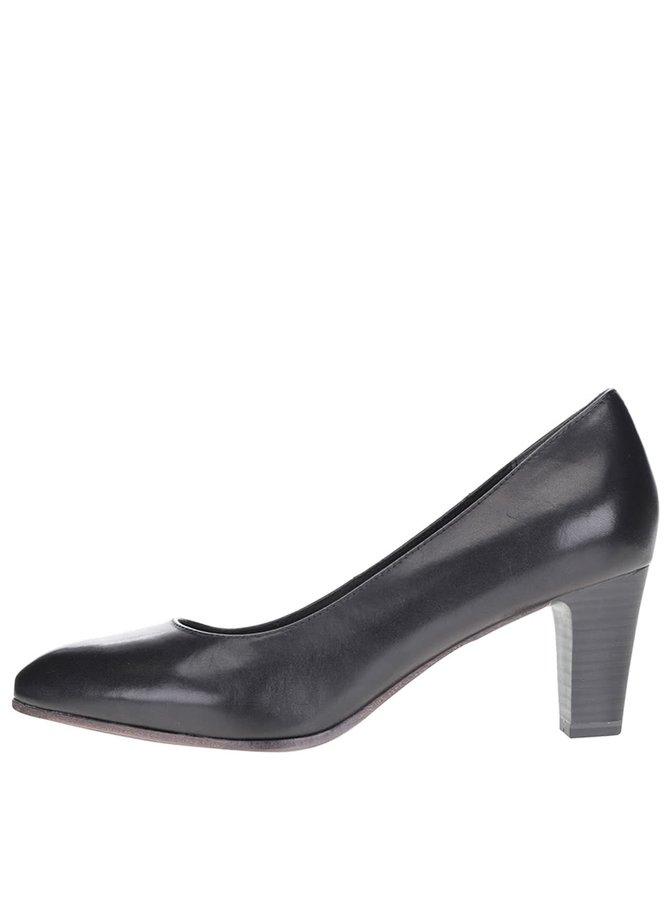 Pantofi negri din piele Tamaris cu toc cui