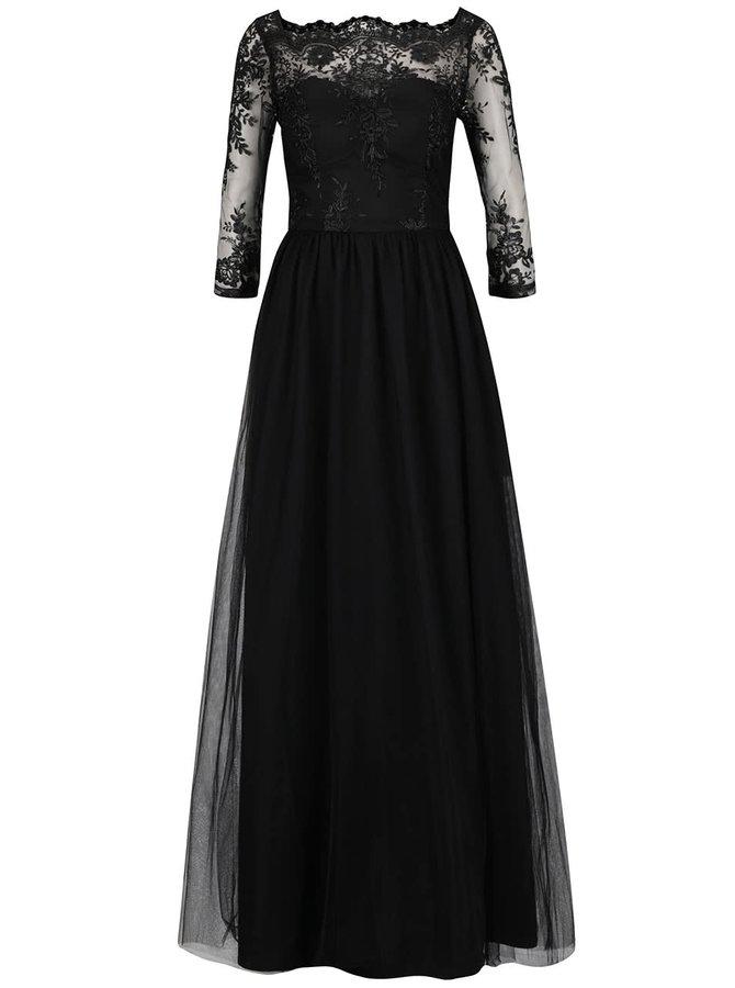 Černé maxišaty s krajkovým topem Chi Chi London Hetty