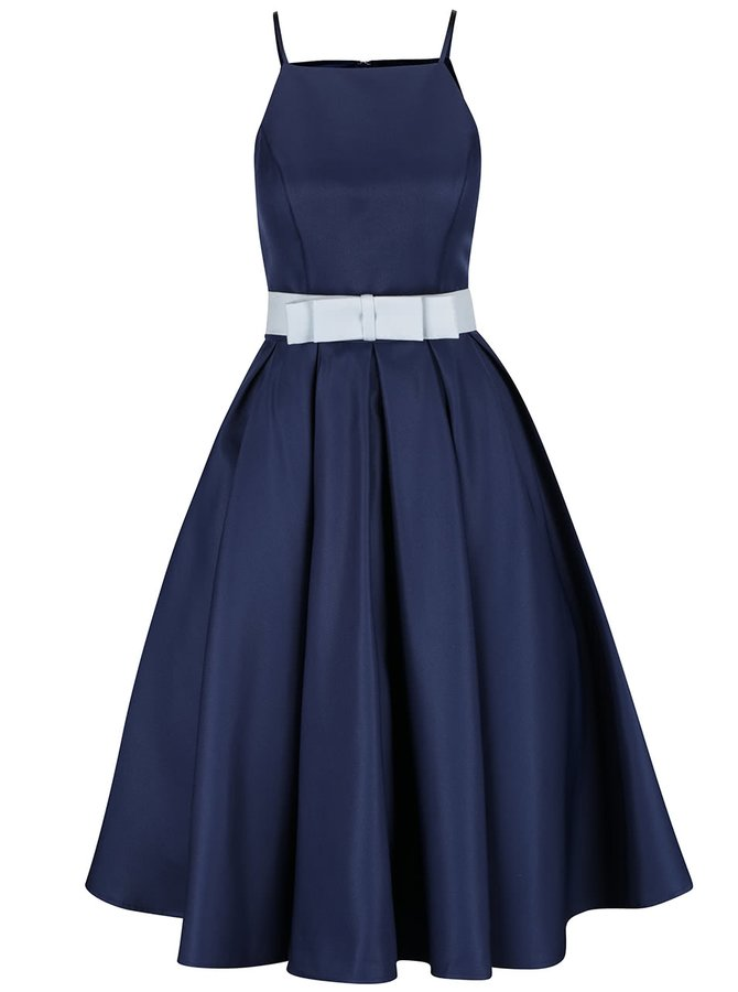 Tmavě modré šaty s kolovou sukní a mašlí v pase Chi Chi London Cassandra