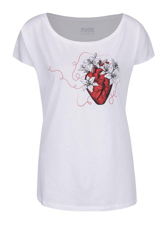 Tricou alb de damă din bumbac organic ZOOT Original Let it bloom